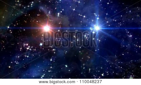 Two Stars Cross In Star Space