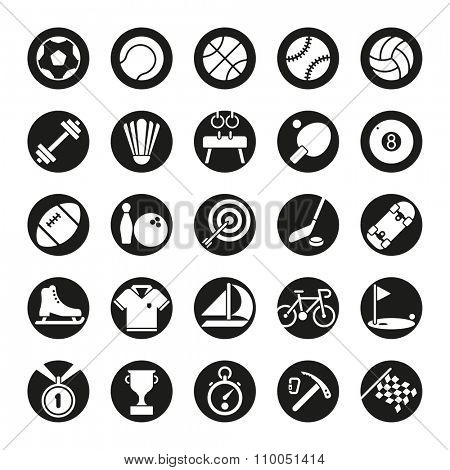 Solid sports round icon set. Collection of solid black circular sports and gymnastics vector icons on white background
