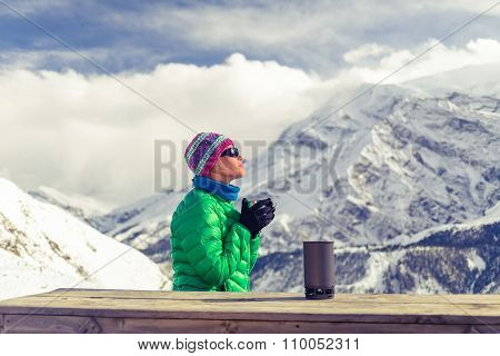 Woman Drinking Camping In Inspirational Mountain Landscape