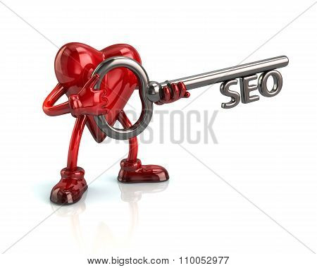 Heart And Silver Key With Word Seo