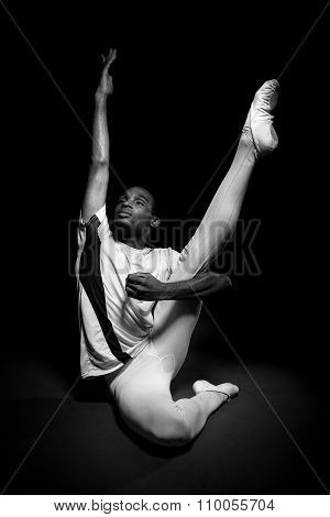Dancer Stretching in Black and White