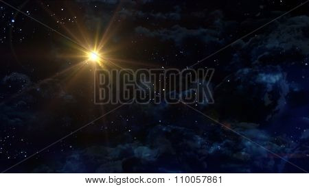 Starry Night Star With Yellow Planet