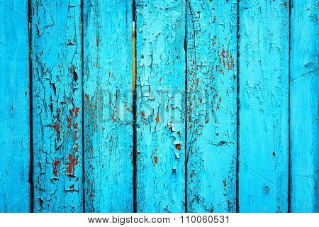 Old green wooden fence