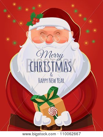 Christmas Greeting Card, Poster. Santa Claus Portrait. Funny Santa. Vector Illustration