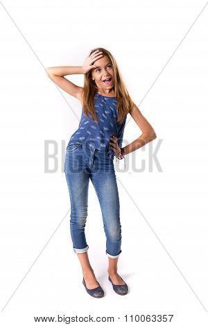 Young Girl Posing In Jeans