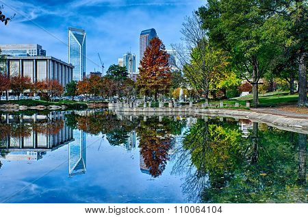 Autumn Season Bright Sunny Day In Charlotte North Carolina
