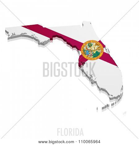 detailed illustration of a map of Florida with flag, eps10 vector