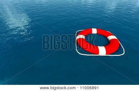 Red Life Belt On Sea