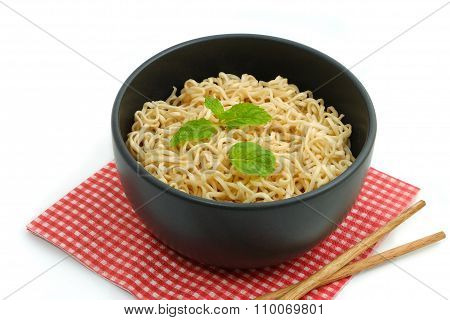 Noodles In The Bowl On White Background
