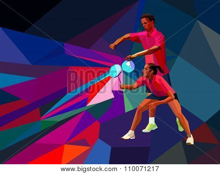 Badminton players mixed doubles team, man and woman start badminton game