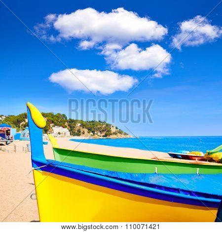 Lloret de Mar Sa Caleta beach in costa Brava of Catalonia Spain poster