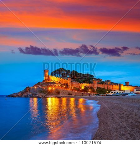 Tossa de Mar sunset in Costa Brava of Catalonia spain Castle and beach