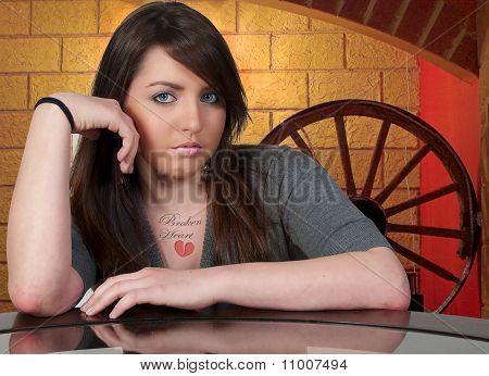 Beautiful Woman Broken Heart Tattoo
