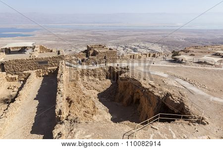 Ruins Of Ancient Masada Fortress. Israel.