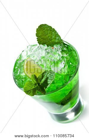 Green Cocktail with Midori, Vodka, Lime and Ice