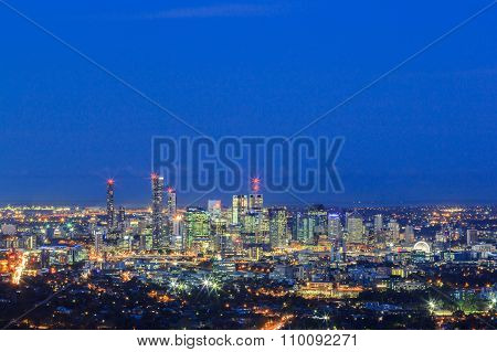 Night View Of The Brisbane City From Mount Coot-tha. Queensland, Australia.