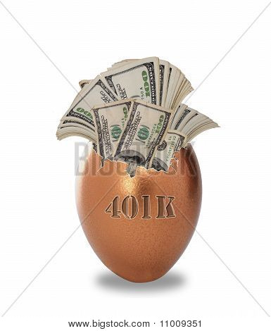 Golden egg full of money.