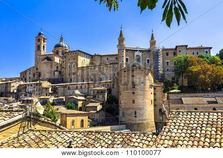 panoramic view of Urbino,Unesco site. Marche.Landmarks of Italy