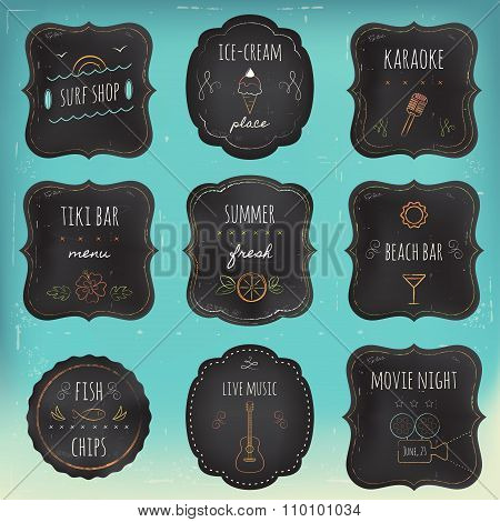 Summer Reacreation Activities and Places Chalkboard Labels and Tags