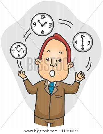 Businessman Juggling Time