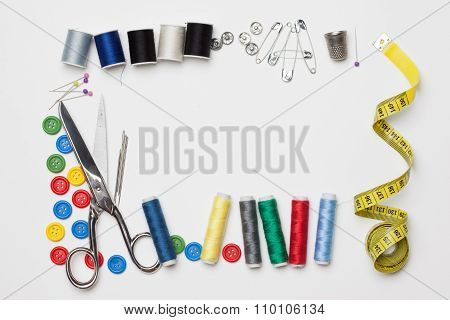 Needlework Tailoring Tools, Isolated On White Background
