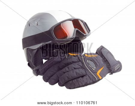 Protective Ski Helmet, Ski Goggles And Ski Glove