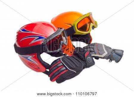 Two Protective Ski Helmet, Ski Goggles And Ski Glove