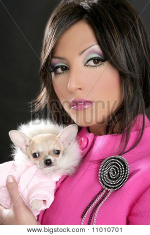 fashion doll barbie woman with chihuahua dog pink 1980s style poster