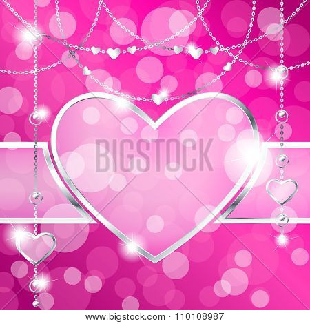 Heart-shaped frame on sparkly hot pink background