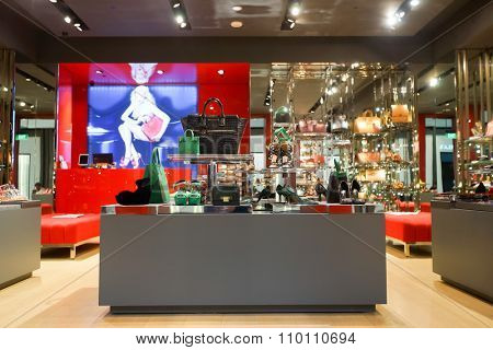 SINGAPORE - NOVEMBER 08, 2015: interior of Kurt Geiger store in The Shoppes at Marina Bay Sands. Kurt Geiger is a British footwear retailer.