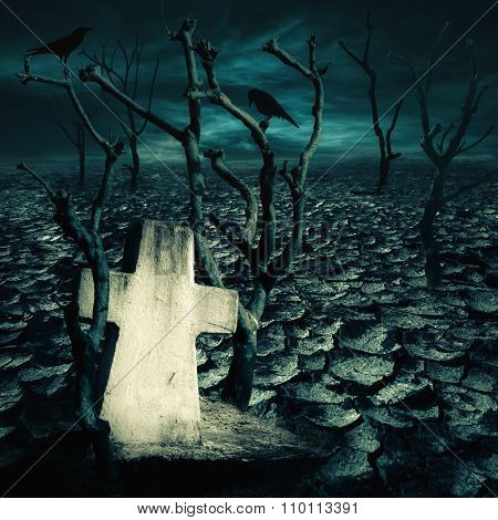 Abandoned Grave At Haunted Mysterious Desert With Black Ravens Seating On Dead Trees Under Dramatic