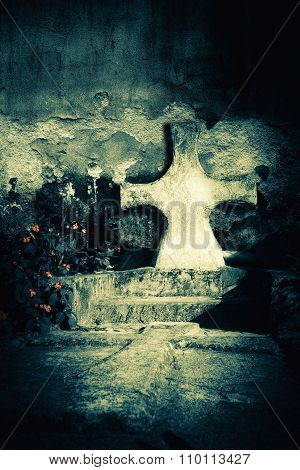 Abandoned Grave At  Old Cemetery. Death Concept