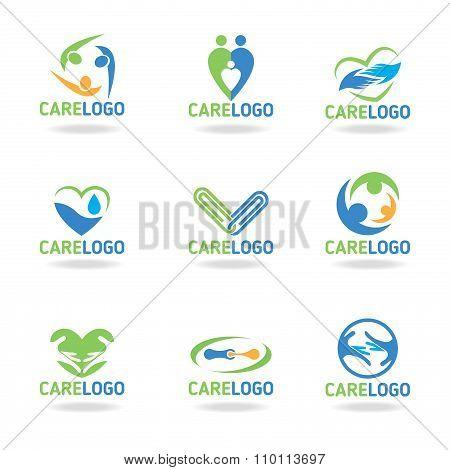 Green blue and orang Care logo vectoe set design