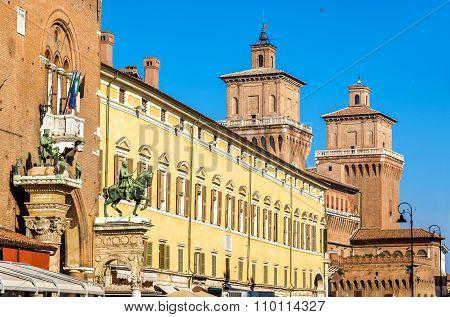 Palazzo Municipale And Castello Estense In Ferrara - Italy
