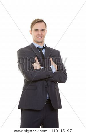 body language. man in business suit isolated white background. gestures of arms and hands. posture o