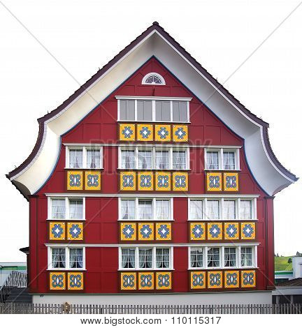 Colourful House With Painted Facade. Appenzell