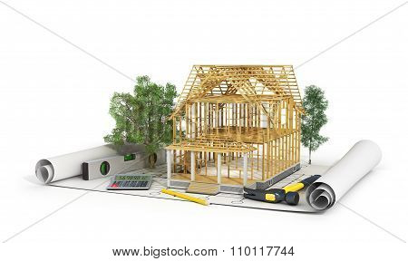 Concept Of Construction. 3D Render Of House In Building Process With Trees, Calculator And Pencil On