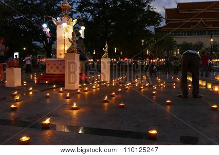 People Light The Candle In Yeepeng Festival