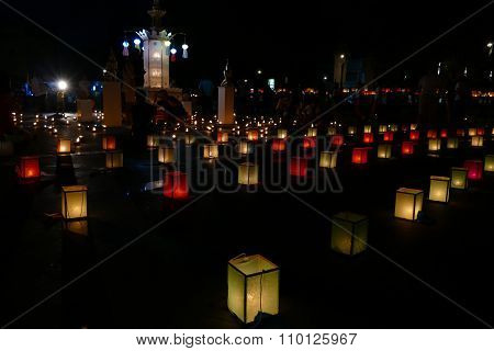 Paper Lantern And Candle Light In Yeepeng Festival