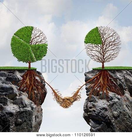 Business agreement concept and global connection financial success symbol as two trees shaped as tree pie charts on seperate divided cliffs joining roots together to find a way to take advantage of each others strength. poster