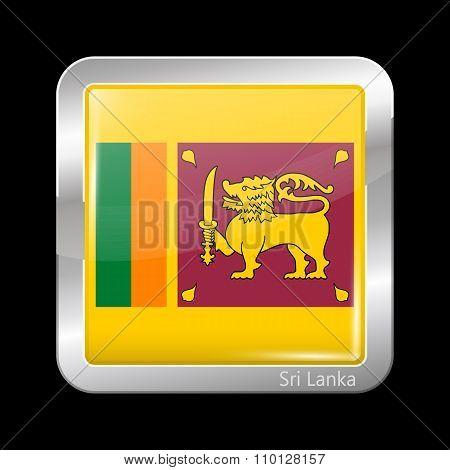 Flag Of Sri Lanka. Metallic Icon Square Shape