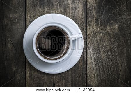 Overhead View Of A Freshly Brewed Mug Of  Black  Coffee
