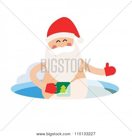 Cartoon extreme Santa ice-hole winter sport illustration. Santa Claus winter ice hole. Winter sport Santa. Santa healthy, Santa nude, Santa red hat, Santa swimming. Nature health lifestyle