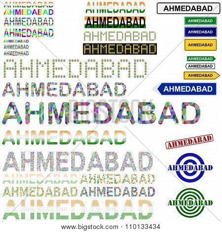 Ahmedabad text design set