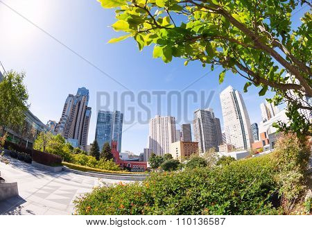 Yerba Buena Gardens park during summer sunny day