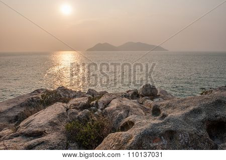 Rocks, sea and island