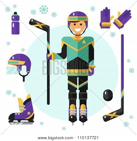 Hockey player with stick and equipment