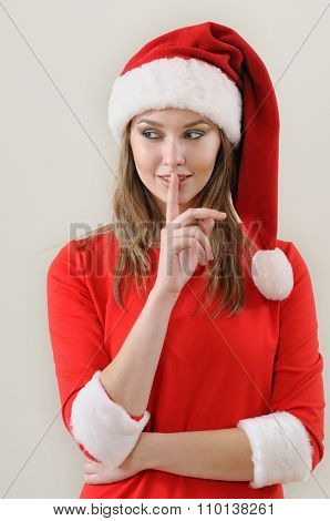 Modesty Girl Weared In Santa Showing The Silence Sing