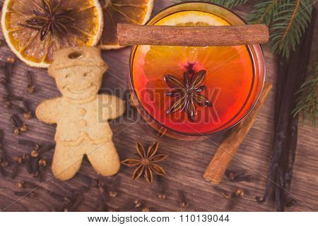 Vintage Photo, Mulled Wine And Gingerbread For Christmas With Spices And Spruce Branches