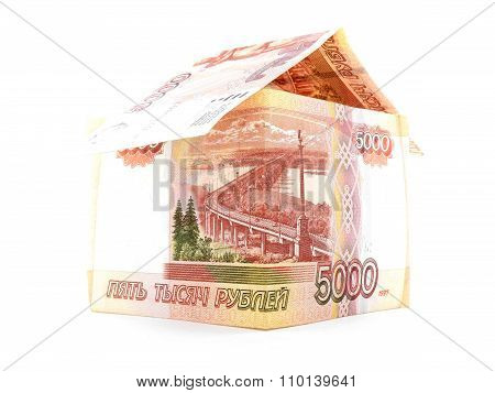 Five Thousand Russian Ruble House, Rouble Banknote Isolated, White Background
